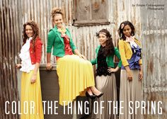 Sunshine yellow, emerald green, dark orange, and dark blue color-blocking. (Color combo ideas for a yellow skirt)