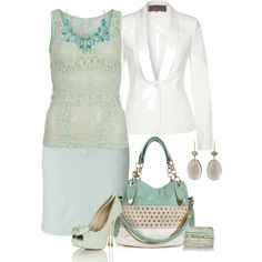 Work Outfit | teal and white