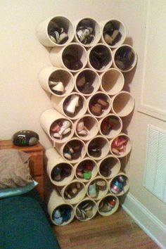 How to Build a Low-Cost Shoe Rack Using PVC Pipes « MacGyverisms. Article includes measurements suggested for the pipe & materials (ie Gorilla glue)