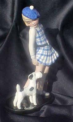 Highly Stylized Deco Goldscheider Wein Art Deco Girl with Book Bag Dog… Goldscheider, Ceramic Figures, Famous Artists, I Love Dogs, Decorative Items, 1930s, Art Nouveau, Sculptures, Statues