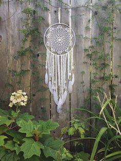 Large White Doily Dreamcatcher by InspiredSoulShop on Etsy