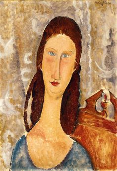 Portrait of Jeanne Hebuterne Amedeo Modigliani (1919) Private collection Painting - oil on canvas