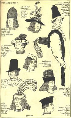 Village Hat Shop Gallery :: Chapter 7 - Medieval or Gothic Europe :: Medieval Hats, Medieval Costume, Medieval Fashion, Medieval Clothing, Historical Hairstyles, Medieval Hairstyles, Hat Hairstyles, Costume Français, Costume Carnaval