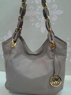 Michael Kors Lilac Leather Chain Link Handbag  I love this bag detail handbag & the color is so cool!
