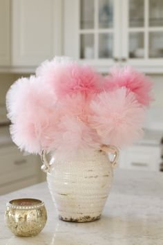 Baby shower centerpiece, pink ombre baby shower decorations, princess party decoration, pink centerpiece, tulle poms, party favors, bridal by MyPaperRomance on Etsy https://www.etsy.com/listing/490060991/baby-shower-centerpiece-pink-ombre-baby