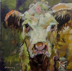 "Daily Paintworks - ""Cow 152 CRAZY CARLA"" - Original Fine Art for Sale - © Jean Delaney"