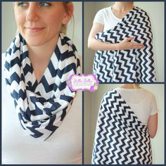Navy Chevron Hold Me Close Nursing Scarf, Infinity Scarf, Nursing Cover - several other colors and designs available.