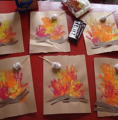 Hand Print Campfires -- such a good idea for a camping playdate!