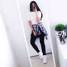 Zara Shirt, New Look Top, H&M High Waisted Jean, Nike Air Force