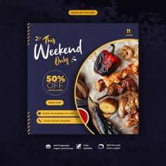 Food social media instagram post templat...   Premium Psd #Freepik #psd #banner #food #business #sale Food Web Design, Food Graphic Design, Food Poster Design, Graphic Design Layouts, Graphic Design Posters, Graphic Design Inspiration, Layout Design, Social Media Poster, Social Media Design