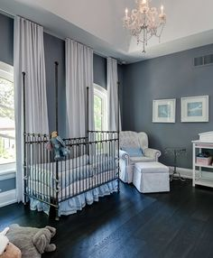 luxurious nursery in dark grey