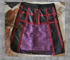 Falda artesana de piel con piezas de encaje