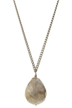 Teardrop Grey Agate Briolette Necklace by Charming Summer Jewelry