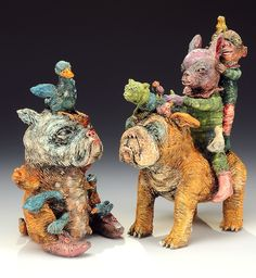 """Janis Mars Wunderlich, """"Feeding Time"""" and """"Walking the Dog"""", ceramic — Sherrie Gallerie"""