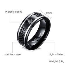 Punk Black Men's Masonic Rings 8mm Surgical Steel Male Ring Jewelry US Size 7 to 12 – men-fashion.net