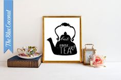 Kitchen Tea  Art,  Kettle  art ,Modern Art,  Wall decor , Handrawn  in a Lino style image DIY Printable in sizes 16x20 ,11x14- 8x10-