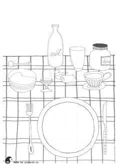 breakfast coloring printables by pipasik