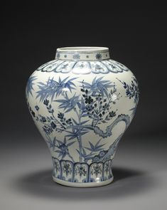 A jar designed with apricot flowers and bamboo comes from the 15th century Joseon Dynasty.