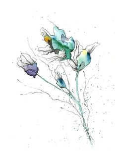 Items similar to Ink & Watercolor Flowers Illustration Floral Fine Art Wall Print Home Decor on Etsy Art And Illustration, Floral Illustrations, Watercolor Illustration, Abstract Watercolor, Watercolor And Ink, Watercolor Flowers, Watercolor Paintings, Tattoo Watercolor, Watercolor Portraits