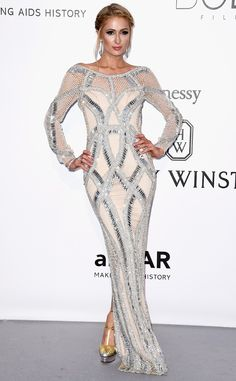 Following the metallic trend of the evening, the socialite looked chic in this floor-length gown.