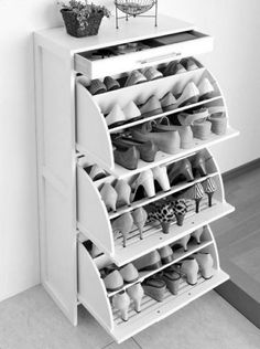 ikea shoe drawers, Hemnes collection. holds 27 pairs. how did i not know this existed? Brittany DAmico possibly the answer to our shoe storing woes? http://www.ikea.com/us/en/catalog/products/40216908/#/20169559