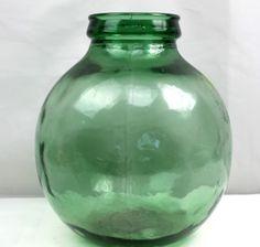 Antique Aqua Green VIRESA Large Round Glass Liquor Wine Bottle Demijohn Carboy