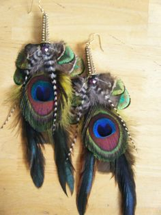 The Hut Feather Earrings A Colorful  Peacock by KeepItFly on Etsy, $32.00