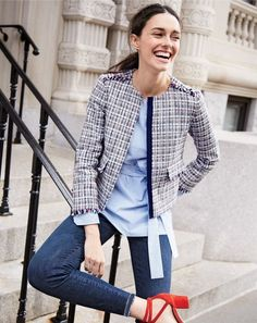 J.Crew women's jacket in lightweight tweed, striped boatneck tunic, Lookout high-rise jean in Meyer wash, and Sophia ankle-wrap pumps in suede.