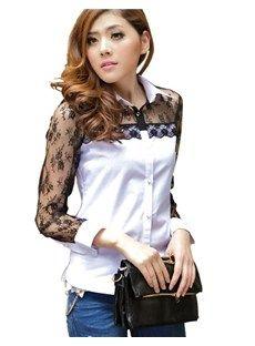 Exquisite Long Sleeves Cotton Lace Blouse