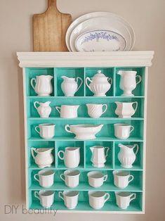 Collected Ironstone in Tiffany Blue Shelf www.diybeautify.com