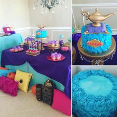 Shimmer Shine Dessert Table with @publix  cake... decorated with #fondantcaketoppers made by https://www.etsy.com/shop/SimplyicedParty #shimmershine #shimmershineparty #geniecake #fondanttoppers #rossettecake #caketopper