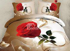 Graceful Single Rose 3D Print 4 Piece Bedding Sets - beddinginn.com