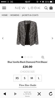 blazer Printed Blazer, Ss 15, Go Shopping, Black Diamond, Stitch Fix, New Look, Jackets For Women, Style Inspiration, My Style