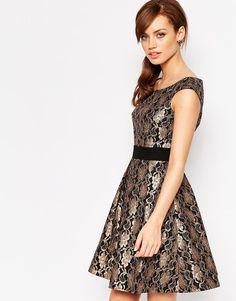Image 1 ofLittle Mistress Petite Embellished Bardot Skater Dress