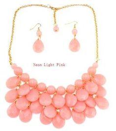 Image of Teardrop Bib Necklace + Earrings: Light Pink