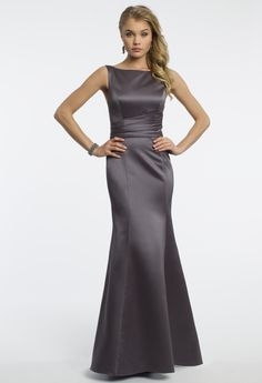 Camille La Vie Satin Trumpet Prom Dress with Bow