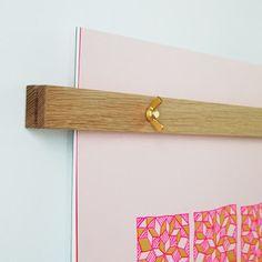 linda & harriett wall calender close up - oak hanger and brass wingnuts
