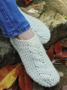 Crochet Patterns - Cable Slippers