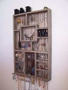 Decorative Wood Jewelry Organizer by barbwireandbarnwood on Etsy, $158.00