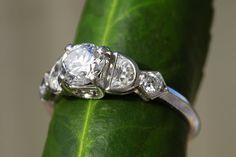 1920's antique platinum engagement ring