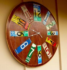 Items similar to Custom recycled license plate art clock by handmade original wine barrel top clock on Etsy License Plate Crafts, Old License Plates, License Plate Art, Wine Barrel Furniture, Car Tags, Heart Decorations, Diy Recycle, Crafts To Do, Diy Crafts