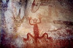 the shapeshifter in cave paintings Rock Painting Supplies, Rock Painting Ideas Easy, Kunst Der Aborigines, Weird Art, Strange Art, Aboriginal Artwork, Painted Rocks Kids, Dog Halloween, Painting Videos