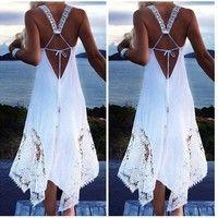 Buy Damen Sexy Ladies Sleeveless A-Line Beach Asymmetrical Hem Lace Crochet Dress Spitze at Wish - Shopping Made Fun Sexy Long Dress, Sexy Party Dress, White Lace Mini Dress, Lace Dress, Boho Dress, Chiffon Dress, Crochet Beach Dress, Beach Tunic, Beach Wear Dresses