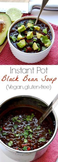 This Instant Pot black bean soup is a delicious plant-based meal that even the meat-eaters will love! Made from dry, un-soaked beans.   APinchOfHealthy.com