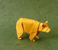 ours jaune en papier plié - une idée d'origami facile et décoratif