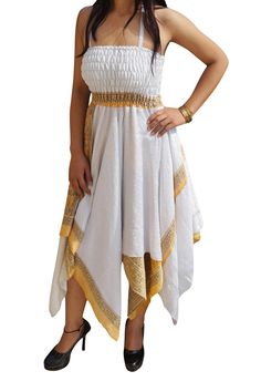 Aria Womens Sundress Recycled Sari Handkerchief Hem Two Layer Resort Holiday Halter Dress S/M (White) Halter Sundress, Halter Neck, Sari Dress, Asymmetrical Design, Smocking, Bodice, Silk, Boho, Elegant