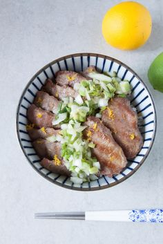 Food Makes Me Happy: Beef Tongue Rice Bowl with Lemon Onion Sauce (牛タン丼...