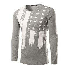 2017 New Spring Fashion Men's Tops Tees Long Sleeve USA American Flag Printed Tops Tees Men's Sweatshirt Fitness Camiseta H7751