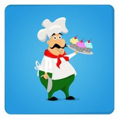 Шеф-повар с кексы Иллюстрация