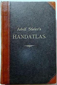 Adolf Stieler Handatlas 1875, erste Ausgabe, 6. Auflage Doppelblatt Inhalt top Band, Top, Sash, Bands, Crop Shirt, Shirts